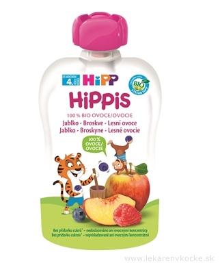 HiPP HiPPis 100% Ovocie Jablko Brosk. Lesné plody kapsička (od ukonč. 4. mesiaca) ovocný príkrm 1x100 g