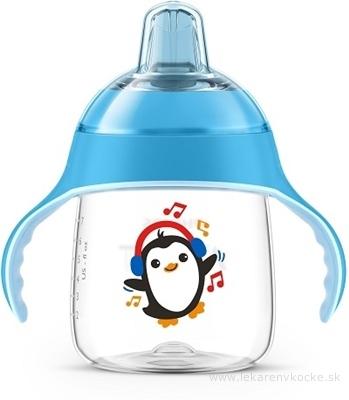 AVENT HRNČEK Premium 260 ml s držadlami od 12 mesiacov, modrý, tučniak, 1x1 ks