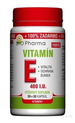 BIO Pharma Vitamín E FORTE 400 I.U cps 30+30 (100% ZADARMO) (60 ks)