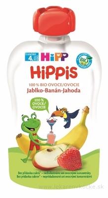 HiPP HiPPis 100% Ovocie Jablko Banán Jahoda kapsička (od ukonč. 4. mesiaca) ovocný príkrm 1x100 g