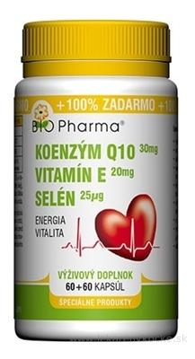BIO Pharma Koenzým Q10 30mg+Vit.E20mg+Selén 25μg cps 60+60 (100% ZADARMO) (120 ks)