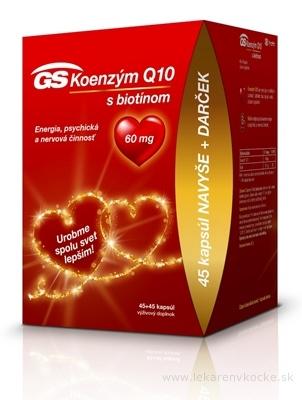 GS Koenzým Q10 60 mg s biotínom darček 2020 cps 45+45 navyše (90 ks)