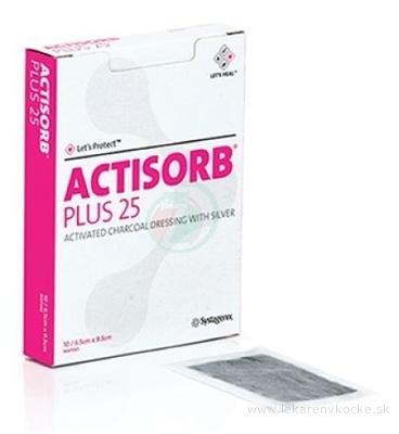 ACTISORB PLUS 25 obväz s aktívnym uhlím a striebrom (6,5 x 9,5 cm) 1x10 ks