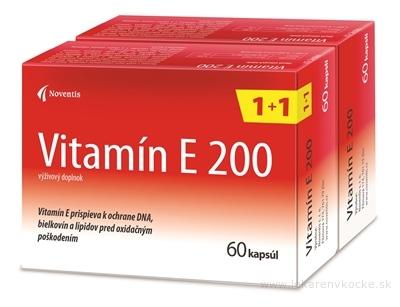 Noventis Vitamín E 200 (akcia 1+1) cps 2x60 ks, 1x1 set
