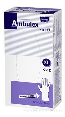 Ambulex rukavice NITRYLOVÉ veľ. XL, biele, nesterilné, nepúdrované, 1x100 ks