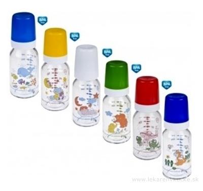 Canpol Babies Fľaša Dekor 120ml sklo, silikónový cumlík okrúhly 3m+, 1x1 set