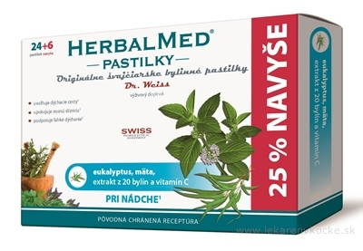 HERBALMED PASTILKY pri nádche - Dr.Weiss (eukalyptus, mäta, 20 bylín, vit.C) pastilky 24+6 navyše (30 ks)