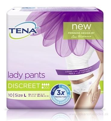 TENA Lady pants DISCREET LARGE dámske naťahovacie absorpčné nohavičky, 1x10 ks