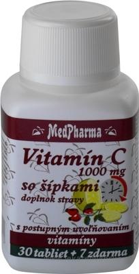MedPharma VITAMÍN C 1000 MG so šípkami tbl (s postup.uvoľňovaním) 30+7 zadarmo (37 ks)