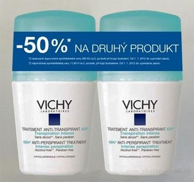 VICHY DEO ANTI-TRANSPIRANT 48H Intense Duo Hypoallergenic (zľava 50% na druhý produkt) (M6333100) 2x50 ml, 1x1set