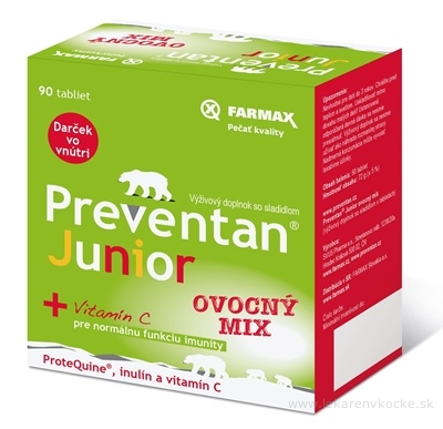 FARMAX Preventan Junior + vitamín C ovocný mix, tbl 1x90 ks
