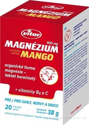 VITAR Magnézium 400 mg + vitamíny B6 a C vrecúška s príchuťou manga 1x20 ks