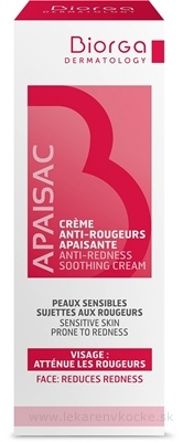 Apaisac BIORGA Upokojujúci krém proti začervenaniu červená rada (Anti-Redness Soothing Cream) 1x40 ml