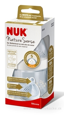 NUK FĽAŠA dojčenská Nature Sense 150 ml, silikónový cumlík otvor S (0-6 m.) 1x1 ks