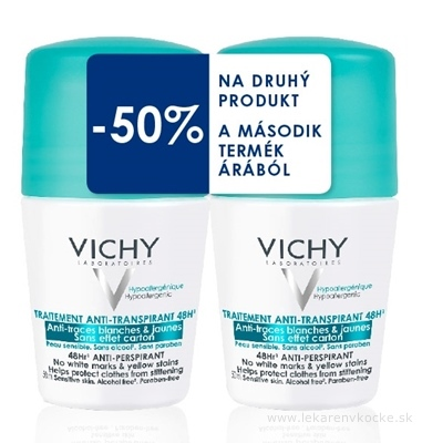 VICHY DEO ROLL-ON 48 HOD. Anti-traces DUO 14 antiperspirant (-50% na druhý produkt) 2x50 ml