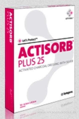 ACTISORB PLUS 25 obväz s aktívnym uhlím a striebrom (19,0x10,5 cm) 1x10 ks