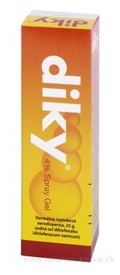 DIKY 4 % Spray Gel aer deo 1x25 g (30 ml fľ. skl. s dávkovačom)