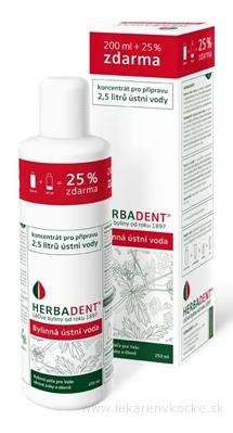 HERBADENT Bylinná ústna voda koncentrát 200 + 50 ml zadarmo (250 ml)