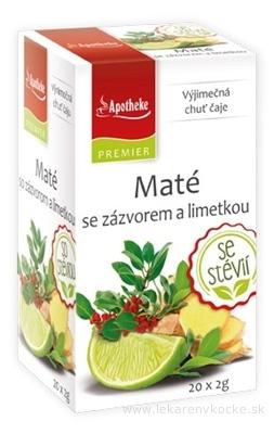 APOTHEKE PREMIER Maté so zázvorom a limetkou ovocný čaj (so stéviou) v nálevových vreckách 20x2 g (40 g)