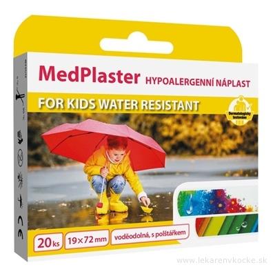 MedPlaster Náplasť FOR KIDS WATER RESISTANT 19x72 mm, vodeodolná s vankúšikom, pre deti 1x20 ks