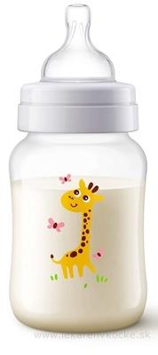 AVENT FĽAŠA PP Antikolik 260 ml Žirafa, antikolikový mäkký cumlík pomalý prietok 2 otvory, 1x1 ks
