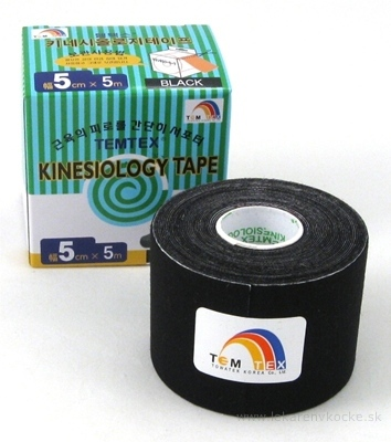 TEMTEX KINESOLOGY TAPE tejpovacia páska, 5 cm x 5 m, čierna 1x1 ks