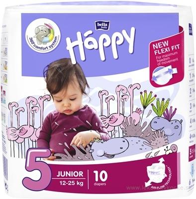 bella HAPPY 5 JUNIOR detské plienky (12-25 kg) 1x10 ks