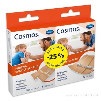 COSMOS Pružná náplasť, Akciové balenie (-25%) stripy (2 veľkosti: 12x 20x60mm + 8x 20x80mm) 20 ks + pásy (6x10 cm) 5 ks, 1x1 set