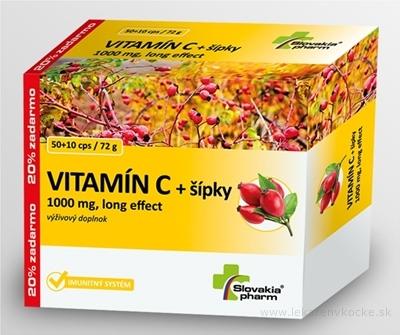 Slovakiapharm VITAMÍN C 1000 mg +šípky long effect cps 50+10 zadarmo (60 ks)