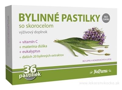 MedPharma BYLINNÉ PASTILKY Bez cukru so skorocelom, materina dúška, vitamín C 1x36 ks