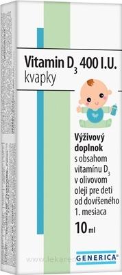 GENERICA Vitamin D3 400 I.U. kvapky 1x10 ml