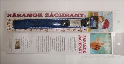 NÁRAMOK ZÁCHRANY CUKROVKA DIABETES na suchý zips s nerezovou známkou, modrý, detský 1x1 ks