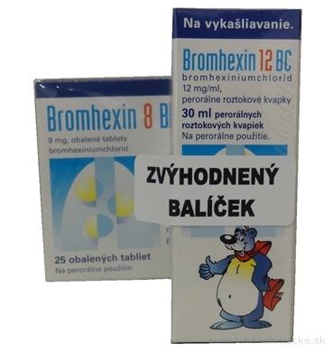Bromhexin 12 BC + 8 BC (balíček) gto por 30 ml (ŠÚKL: 12495) + tbl obd 8 mg 25 ks (ŠÚKL: 51621), 1x1 set