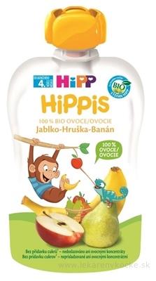 HiPP HiPPis 100% Ovocie Jablko Hruška Banán kapsička (od ukonč. 4. mesiaca) ovocný príkrm 1x100 g