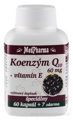 MedPharma KOENZÝM Q10 60 mg + Vitamín E cps 60+7 zadarmo (67 ks)