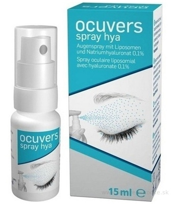 Ocuvers spray hyaluron očné kvapky v spreji, lipozómy a hyaluronát sodný, 1x15 ml