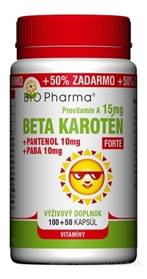 BIO Pharma Beta karotén 15 mg FORTE cps (+Pantenol 10 mg + PABA 10 mg) 100+50 (+50% ZADARMO) (150 ks)