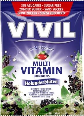 VIVIL BONBONS MULTIVITAMÍN drops s príchuťou bazy čiernej, bez cukru 1x60 g