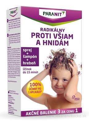 PARANIT radikálny proti všiam a hnidám sprej 100 ml + (šampón 100 ml + hrebeň zadarmo), 1x1 set