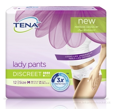 TENA Lady pants DISCREET MEDIUM dámske naťahovacie absorpčné nohavičky, 1x12 ks