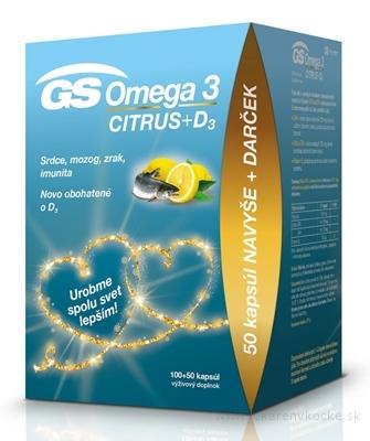 GS Omega 3 CITRUS + D3 darček 2020 cps 100+50 (150 ks)