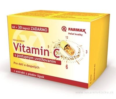 FARMAX Vitamín C s pozvoľným uvoľňovaním 500 mg + extrakt z plodov šípok, cps 60+30 zadarmo (90 ks)