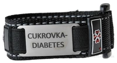 NÁRAMOK ZÁCHRANY CUKROVKA DIABETES na suchý zips s nerezovou známkou, čierny, dospelý 1x1 ks