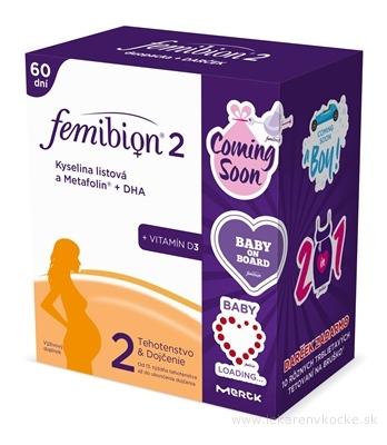 Femibion 2 Kys. listová a METAFOLIN+DHA+Vit.D3 DUOPACK (2x30 tbl + 2x30 cps), na 60 dní + darček (10 trblietavých tetovaní na bruško), 1x1 set