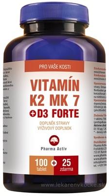 Pharma Activ Vitamín K2 MK 7 + D3 FORTE tbl 100+25 zdarma (125 ks)