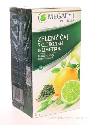 MEGAFYT ZELENÝ ČAJ s citrónom & limetkou 20x1,5 g (30 g)