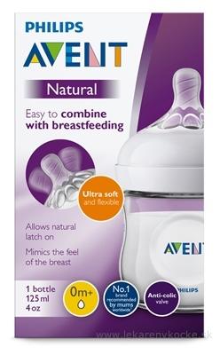 AVENT FĽAŠA Natural PP 125 ml polopriehľadná, cumlík ultra soft (0m+) novorodenecký, mäkký (SCF030/17)1x1 ks