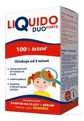 LiQuido DUO FORTE proti všiam šampón 200 ml + (sérum 125ml + hrebienok+čapica) zadarmo, 1x1 set