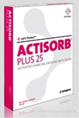 ACTISORB PLUS obväz s aktívnym uhlím a striebrom (10,5x10,5 cm) 1ks