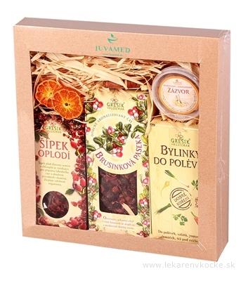 JUVAMED KAZETA BRUSNICOVÁ LÚKA čaj Brusnicová záhrada 100 g + Šípka oplodie 70 g + Bylinky do polievky 100g + Zázvor 50 g , 1x1 set